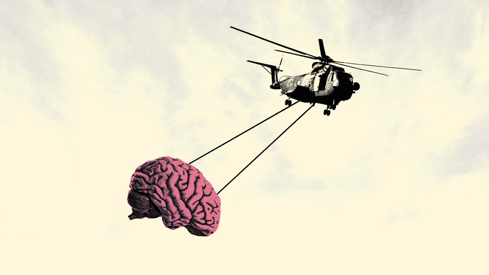 An illustration of a helicopter lifting a brain