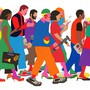 Illustration of colorfully dressed, multiracial crowd walking with cellphones, coffees, laptops, and creative tools