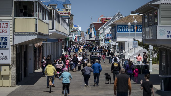 The boardwalk at Ocean City, Maryland, crowded with people