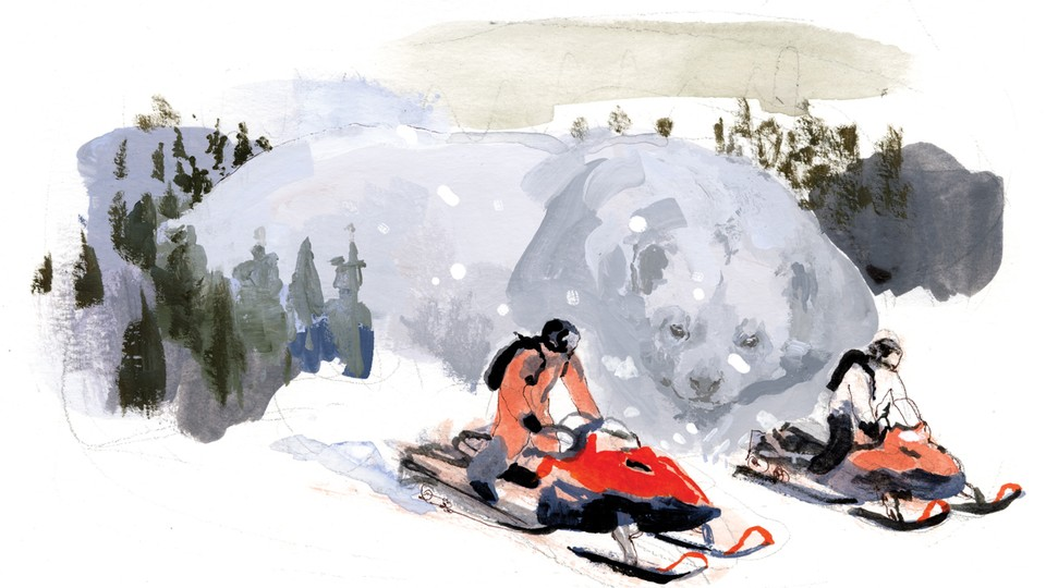 illustration of snowmobilers with an animal