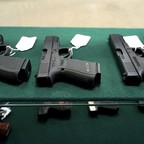 A selection of Glock pistols for sale in Parker, Colorado.