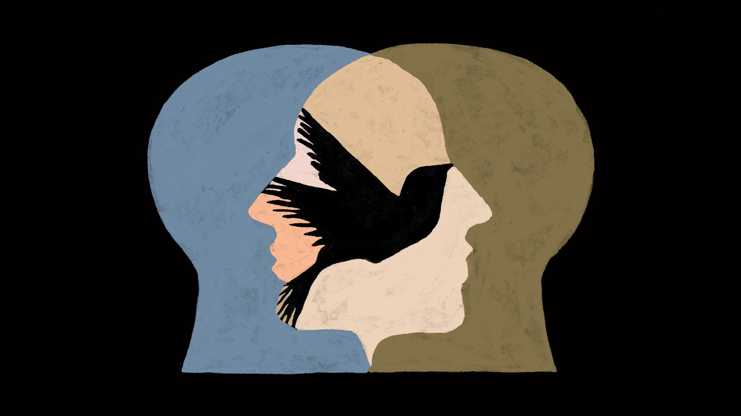 two faces intertwined with a silhouette of a bird in between
