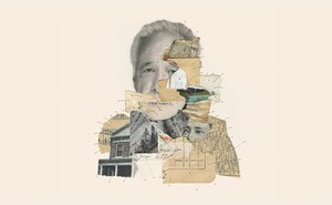 Illustration of collaged photos, maps, sheet music, and paper bits sewn together, including image of W. G. Sebald