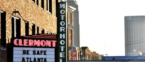 "photo: The Clermont Hotel's marquee displays ""Be Safe Atlanta.""in Atlanta, Georgia."