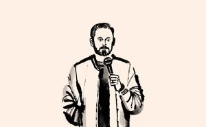 Sketch in black ink on beige background of Nate Bergatze holding mic