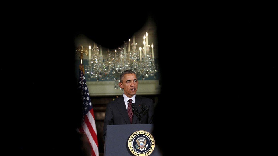 President Barack Obama delivers a statement after meeting with the National Security Council at the State Department in Washington on February 25, 2016.