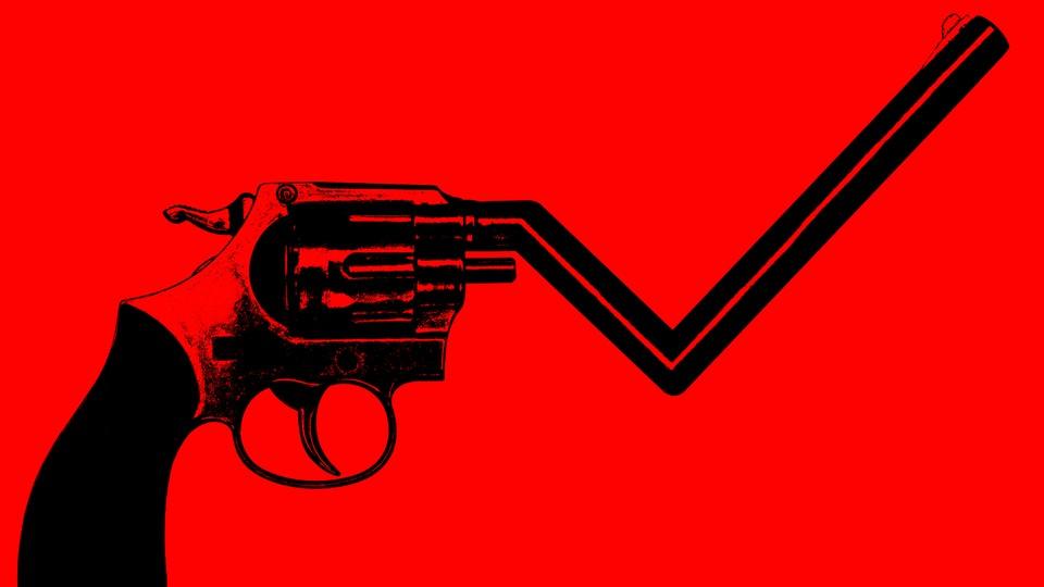 An illustration of a gun whose barrel morphs into a graph line that falls then rises