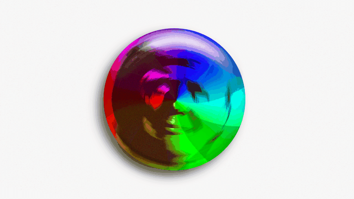 Trump's face in an Apple rainbow spinning wheel