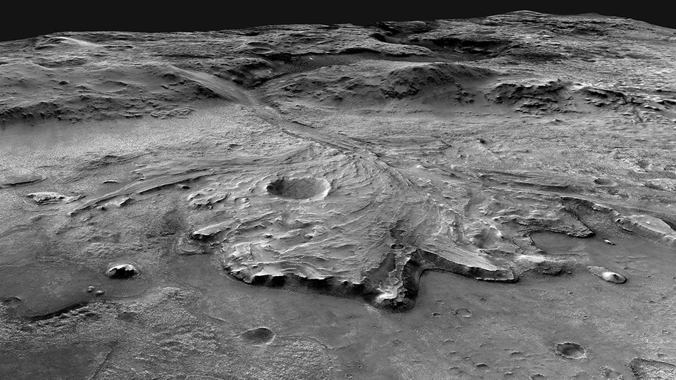 A view of Jezero crater on Mars