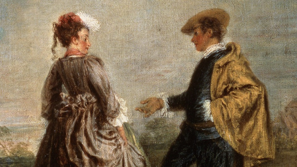 A man holds out his hand to a skeptical woman