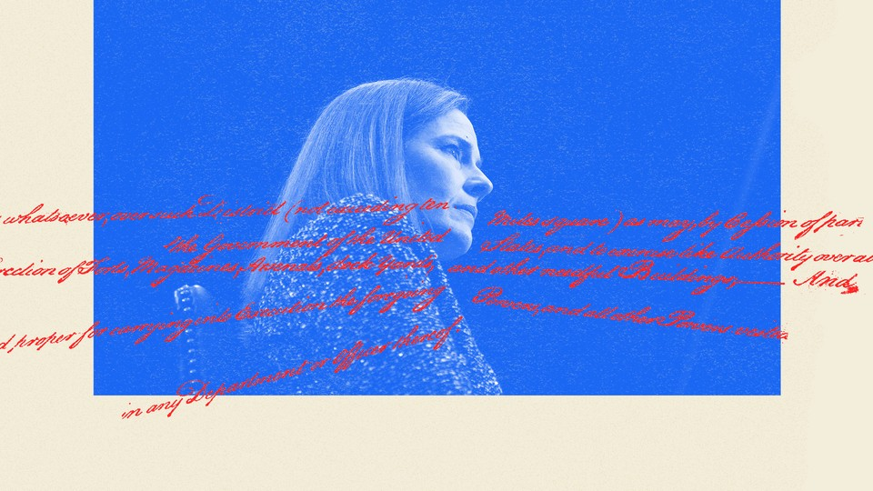 An illustration of Amy Coney Barrett and Constitution text.