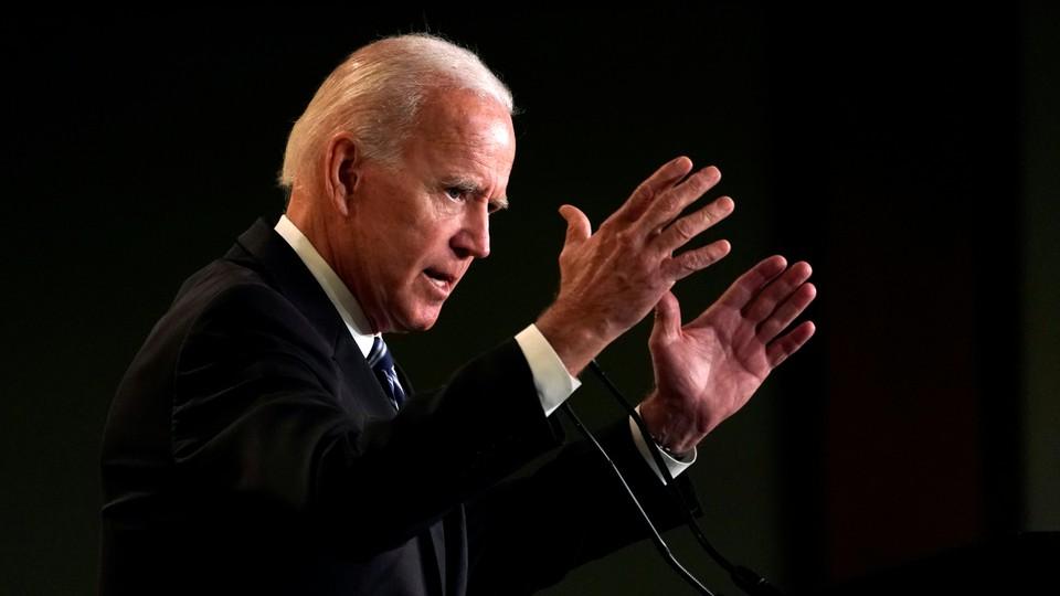 Former Vice President Joe Biden addresses the International Association of Fire Fighters in Washington on March 12, 2019.