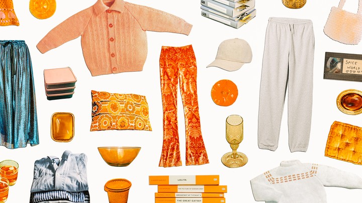 A collage of various personal belongings, such as clothing and books
