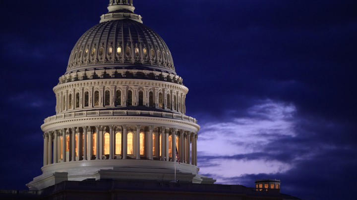 The Capitol dome, seen at night