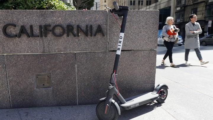 A black Bird scooter