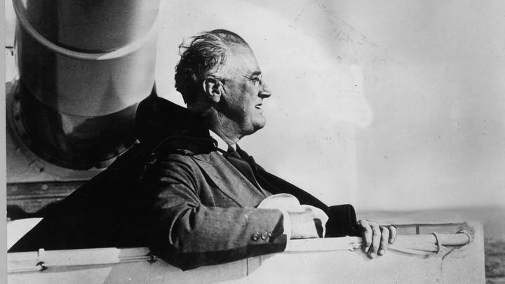 Franklin Delano Roosevelt on board an American warship