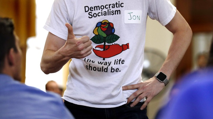"A T-shirt says ""Democratic Socialism: The way life should be."""