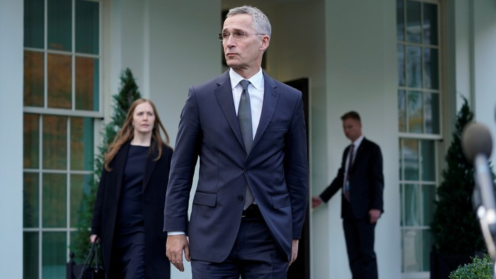 Jens Stoltenberg emerges from the White House.
