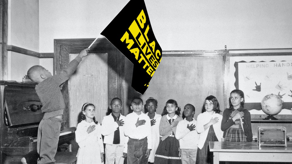 Photo illustration of a student waving a Black Lives Matter banner in a classroon