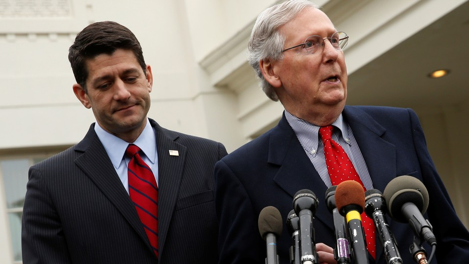 Paul Ryan and Mitch McConnell speak to reporters.