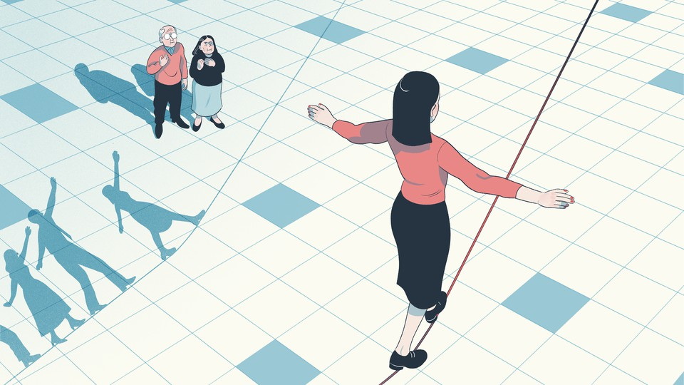 An illustration of two parents watching their daughter walk across a tightrope.