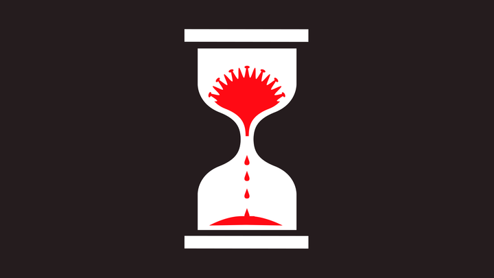 An illustration of a red hourglass with a virus molecule inside.