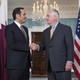 Secretary of State Rex Tillerson and Qatari Foreign Minister Mohammed bin Abdulrahman al-Thani at the State Department on May 8, 2017