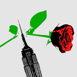 An illustration of the Empire State building and a rose.