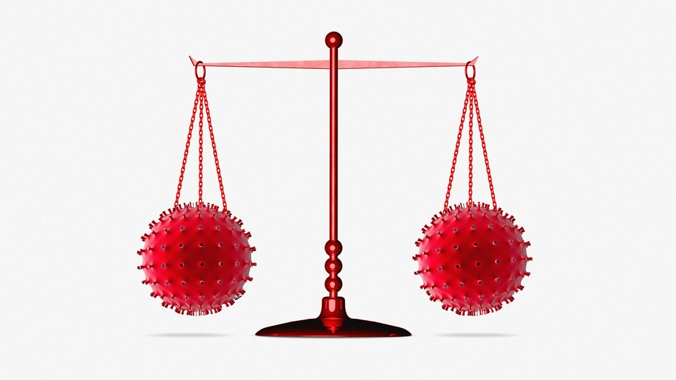 An illustration of red scales of justice balancing two coronaviruses.