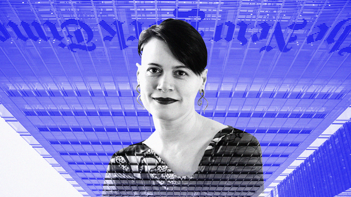 A black-and-white photograph of Quinn Norton superimposed on an upside-down image of the New York Times building in New York