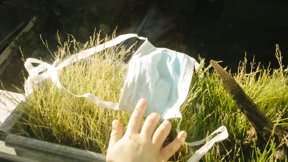A hand, a face mask, and grass.