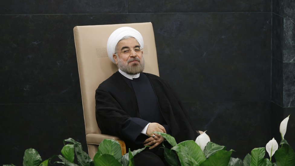 Iranian President Hassan Rouhani sits before addressing the 2013 UN General Assembly