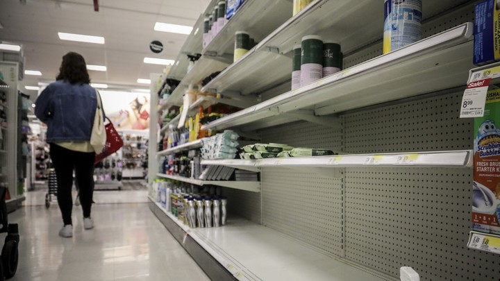 Empty shelves for disinfectant wipes in New York