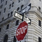 One-way signs in the financial district in New York City