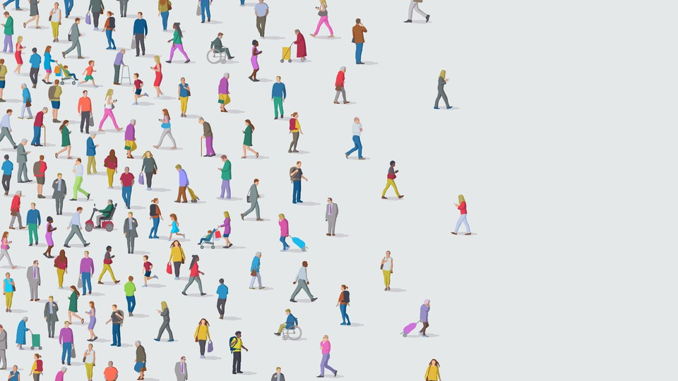 Illustration of a group of people walking