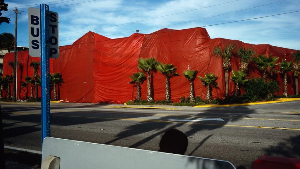 A bus stop in Daytona Beach, Florida, in 1997