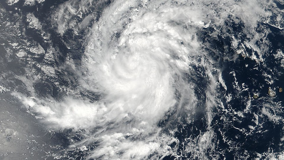 Irma in the eastern Atlantic Ocean, as seen by a NASA-NOAA satellite