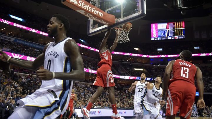 Houston Rockets center Clint Capela dunks