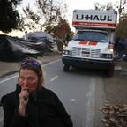 A woman at a homeless encampment in Anaheim, California
