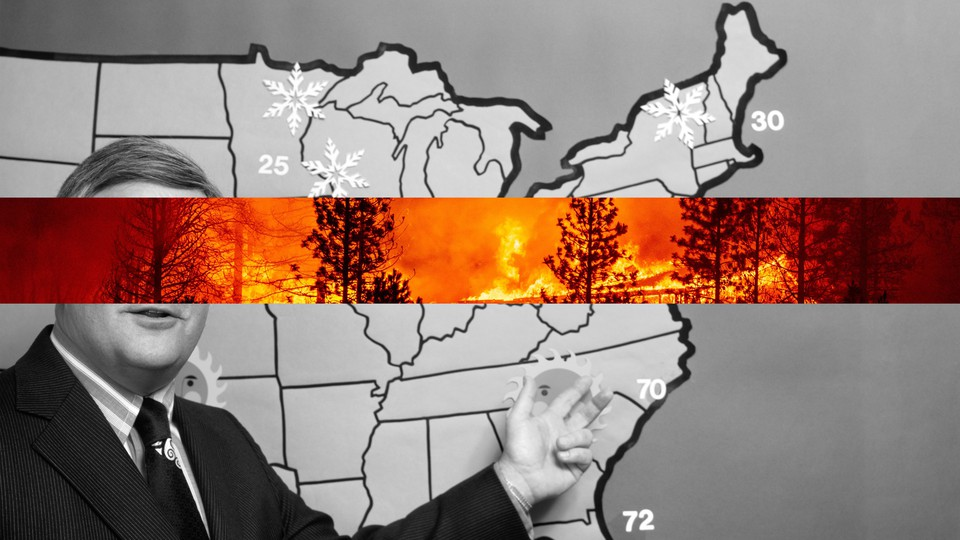 Black-and-white image of a meteorologist pointing to a map with a cutout of a forest fire superimposed