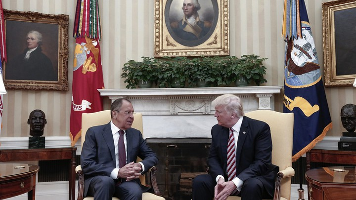 Russian Foreign Minister Sergei Lavrov and President Trump chat in the Oval Office on Wednesday.