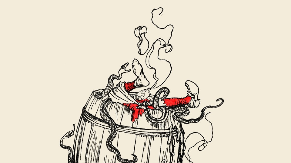 An illustration of a man in a barrel of snakes.