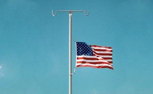 Illustration: American flag at half-mast on an IV stand
