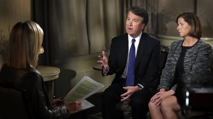 Brett Kavanaugh and his wife, Ashley Kavanaugh, during a Fox News interview by Martha MacCallum on Monday, September 24