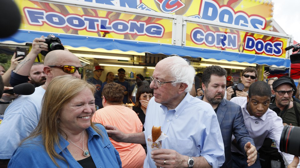 Senator Bernie Sanders of Vermont was one of many Democrats to walk the fairgrounds this weekend.