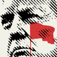 A red flag superimposed over a sketch of Donald Trump's face
