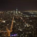 The Manhattan skyline at night.