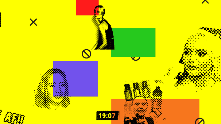 Yellow background with pixelated images from YouTube videos about MLM companies.