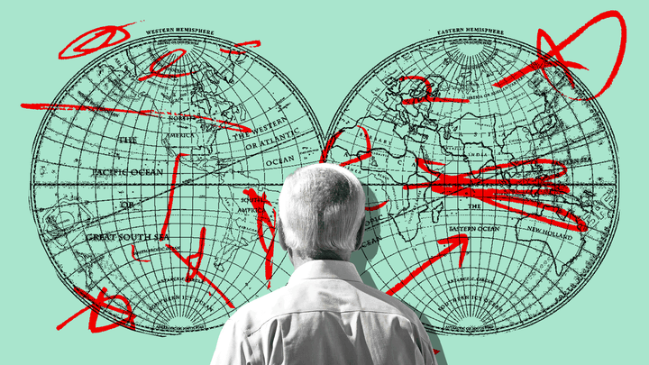 An illustration of Joe Biden looking at a map of the world.