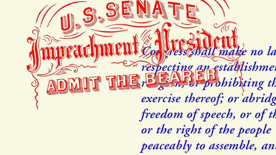 An illustration of Impeachment articles and the First Amendment text.